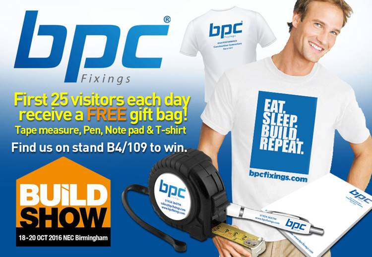 'Make a connection with BPC building products at the Build Show and get a free gift bag!